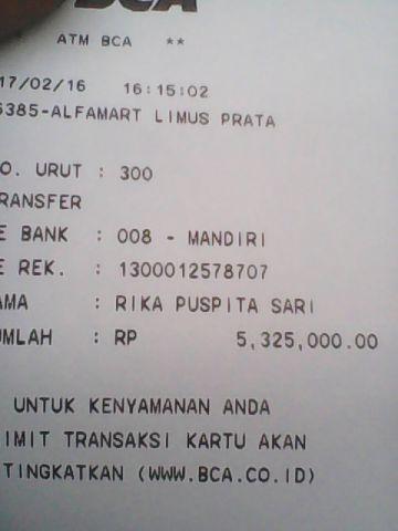Bukti Transfer mustikapusaka.com